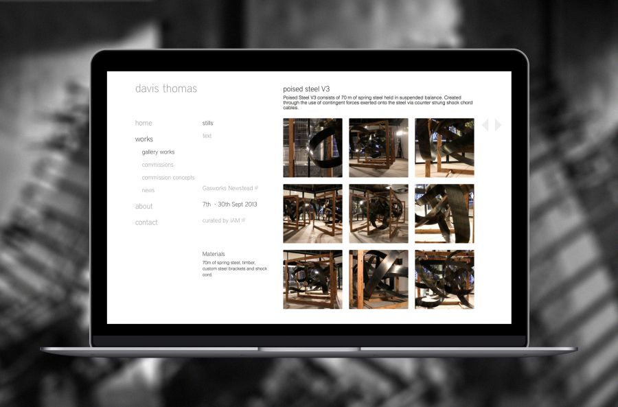 A gallery work page on Davis Thomas website