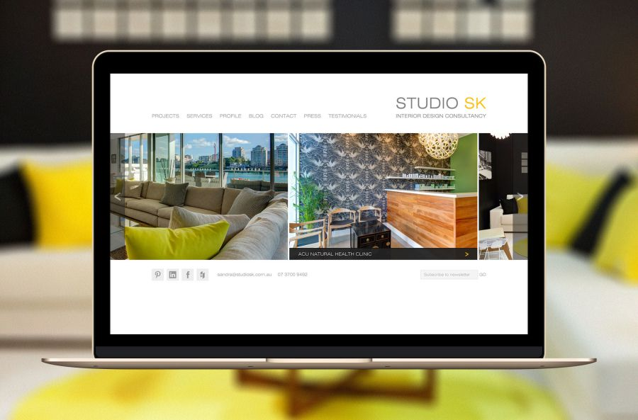 Featured interior design projects on front page of Studio SK website